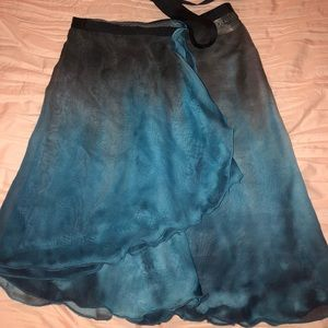 Water color blue and black ballet skirt
